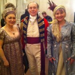 Virginia Barter (right) Re-enactor and costume designer Peter Twist and his wife Myoko (left) at the symposium costume ball, London Armouries Hotel, March 29, 2014.